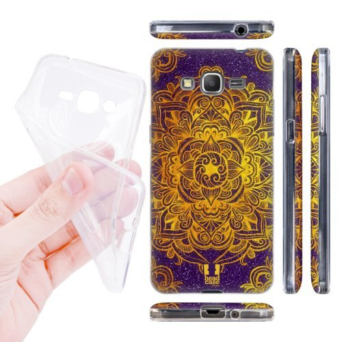 Head Case Designs Gold Mandala Doodles Soft Gel Back Case Cover for Samsung Galaxy Grand Prime 3G 4G Duos LTE G530