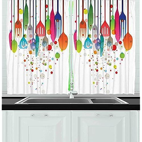 Rainbow Kitchen Decor: Colorful Kitchen Curtains: Amazon.com
