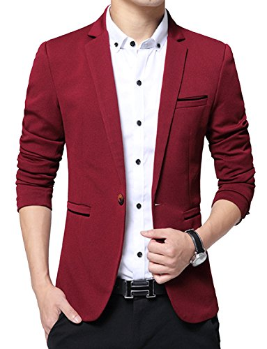 DAVID.ANN Men's Slim Fit Suits Casual One Button Flap Pockets Solid Blazer Jacket,Wine Red,Medium