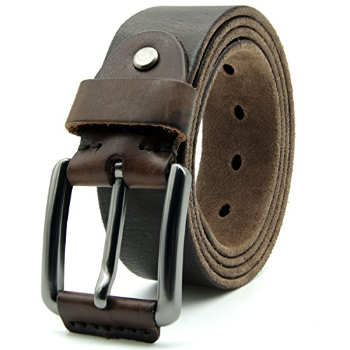 Mens Leather Belt Top Grain Leather with Brushed Pin Buckle for Jeans 1.5