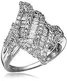 10k White Gold Waterfall Diamond Ring (1 cttw), Size 7