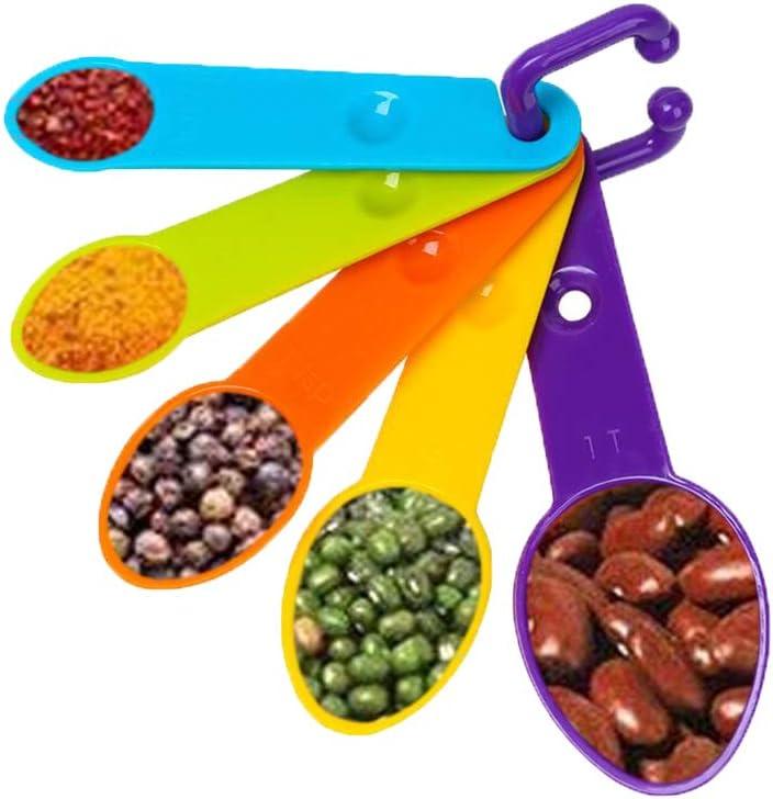 5 St/ück Kunststoff Messl/öffel K/üche Messger/äte Utensilien Backset f/ür trockene und fl/üssige Zutaten Iindes Messl/öffel-Set verschiedene Farben