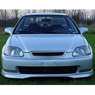 IKON MOTORSPORTS Front Bumper Lip Compatible With 1996-1998 Honda Civic   T-R Style Painted #B73M, B73M-5 Cyclone Blue Metallic PP Air Chin Diffuser Spoiler: Automotive
