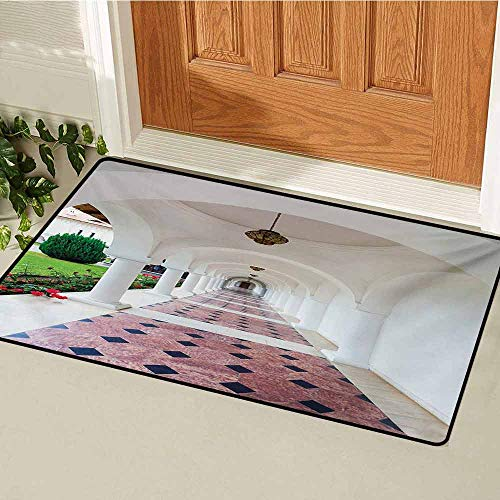 Travel Front Door mat Carpet Dome Arched Colonnade Hallway at Sambata De Sus Monastery in Transylvania Romania Machine Washable Door mat W35.4 x L47.2 Inch White Green