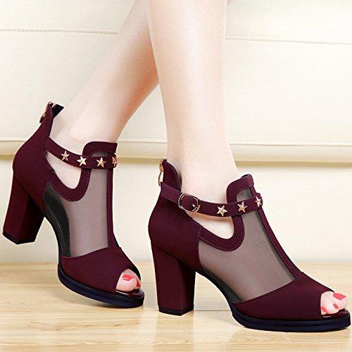 SHOESHAOGE Boca De Pescado Sandalias Mujer Tacones Altos Con Un Hilo Grueso Con Solo Zapatos Zapatos De Mujer ,Eu37 EU40