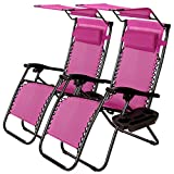 TG888 Zero Gravity Folding Lounge Beach Purple Chairs 2 Pcs with Canopy Magazine Cup Holder