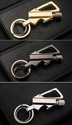 √√Matches Kerosene Lighter Key Ring Outdoor Waterproof Portable Metal Keychain