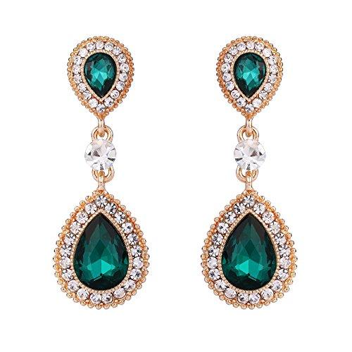 BriLove Wedding Bridal Dangle Earrings for Women Crystal Teardrop Infinity Figure 8 Earrings Emerald Color Gold-Toned