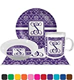 Initial Damask Dinner Set - 4 Pc (Personalized)
