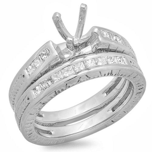 0.60 Carat (ctw) 14K White Gold Princess Cut Diamond Ladies Bridal Semi Mount Engagement Ring With Matching Band Set (No Center -