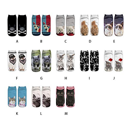 Yuxikong Girls 3D Funny Cute Cats Ankle Socks Novelty Cats Animals Low Cut Socks by Yuxikong (Image #4)