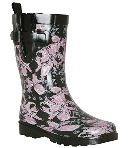 Capelli New York Ladies Flora Printed Mid- Calf Rain Boot Black Combo 9