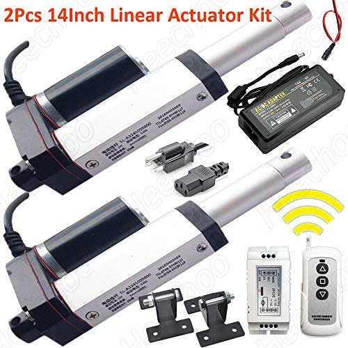 2PCS Linear Actuator 14 Inch Pusher Kit 24V with Remote Control Mounting Bracket and Power Supply Maximum Thrust 1000N for Reclining Chairs, Massagers, 4D Interactive Equipment, TV Station Lifts