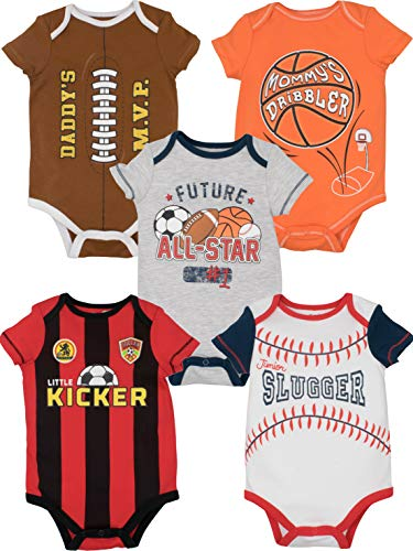 Funstuff Baby Boy Girl 5 Pack Sports Bodysuits Soccer Football Basketball Baseball (18 Months)]()