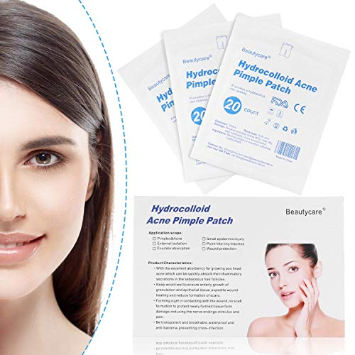 Acne Pimple Patch, Beauty Care Hydrocolloid Acne Spots Stickers Dot Absorbing Cover (3 Sheet 60 Patches)