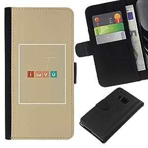 HTC One M7 Modelo colorido cuero carpeta tirón caso cubierta piel Holster Funda protección - Romantic Chemistry Nerd Table Elements