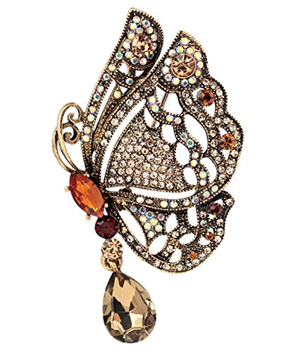 Gyn&Joy Womens Vintage Swarovski Crystal Element Butterfly Brooch Pin Pendant- Brown BZ019