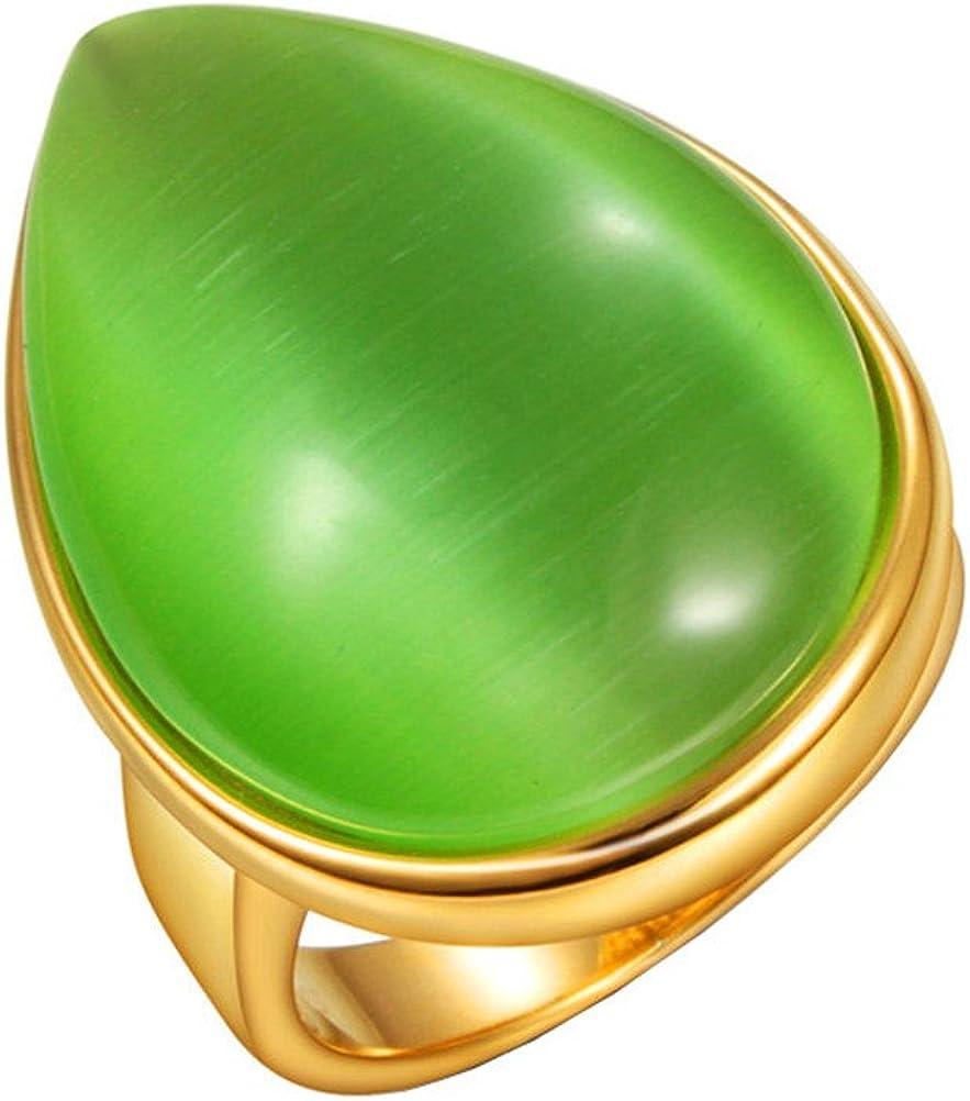 HIJONES Unisex Acero Inoxidable Anillo Verde De La Piedra Preciosa De La Lágrima De La Vendimia, Oro Plateado