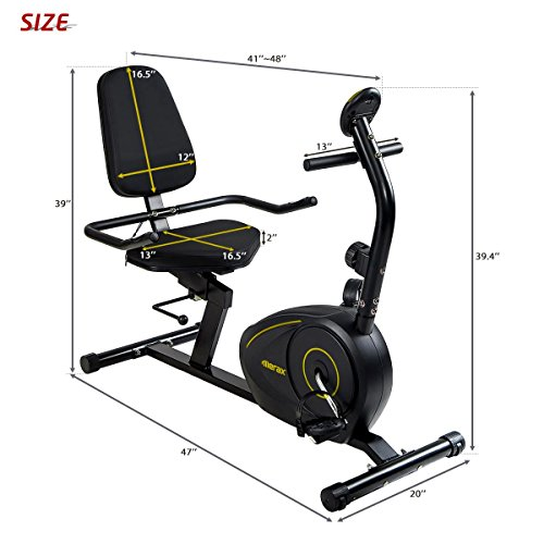 Merax Magnetic Recumbent Exercise Bike | 8-Level Resistance | Quick Adjust Seat (Black 2019) by Merax (Image #8)