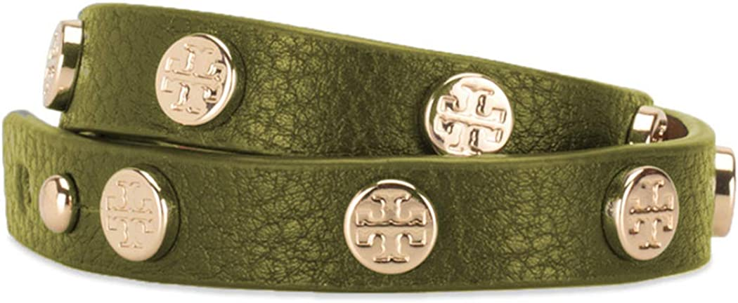 Tory Burch Bracelet Double Wrap Logo TB Leather Studded, Green: Clothing