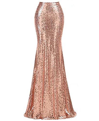 Women Sequin Skirts Mermaid High Waist Long Skirt (Rose Gold, XXL)