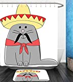 Beshowereb Bath Suit: Showercurtain Bathrug Bathtowel Handtowel Cat Lover Decor Collection Modern Illustration of Latino Kitten with Mexican Hat and Moustache Artsy Mascot Grey White Red