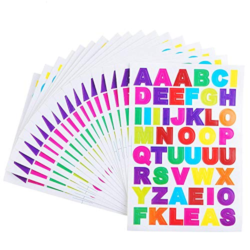 SUBANG 50 Sheets A to Z Colorful Letter Stickers Alphabet Stickers Cardstock Stickers,Different Color Alphabet Available