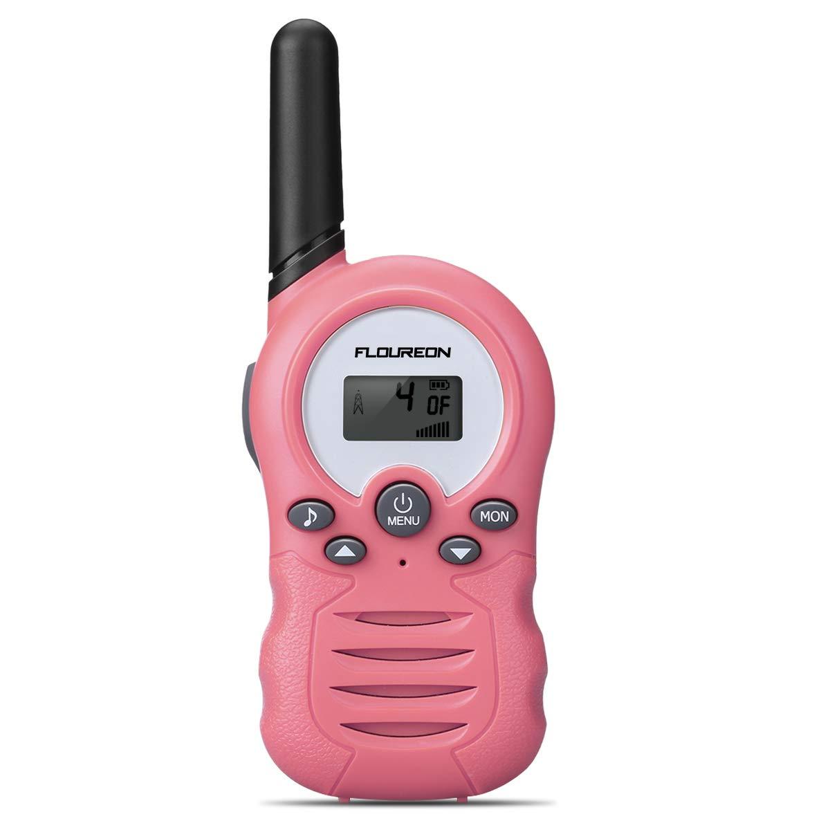 floureon Kids Walkie Talkies Two Way Radios 22 Channel 3000M (MAX 5000M Open Field) UHF Long Range Handheld Talkies Talky (Pink 2) by floureon (Image #2)