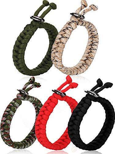 Zhanmai 5 Pieces Paracord Bracelet Adjustable Fish Tail Paracord Bracelets with Metal Clasp, 5 Colors