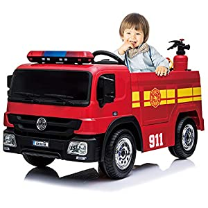 Kidsclub Ride On Fire Truck Toy, Remote Control Electric Car, 12 Volt Toddler Power Motorized Driving Cars for Kids 4 wheeles Big Car, Water Gun, Hat, Extinguisher, Horn, Siren, Indoor, Outdoor from Kidsclub
