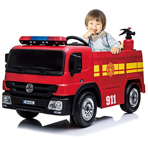 Kidsclub Fire Truck 12 Volt Powered Ride On Toy Electric Car with Remote Control, Water Gun, Hat, Extinguisher, Horn, a Siren