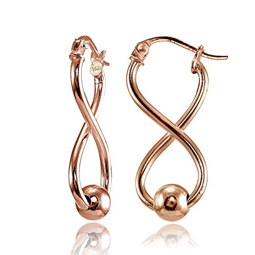 Rose Gold Flashed Sterling Silver Infinity Figure 8 Bead Drop Earrings