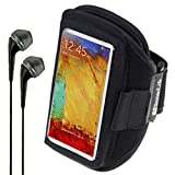 SumacLife Hardcore Fitness Armband for Sony Xperia M4 Aqua / T2 Ultra / Z3 / Z3v / Z2 / Z1S / Z1 / T3 + VanGoddy Headphones (Black)