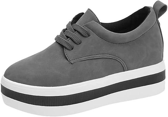 POLP Botas Zapatos de Plataforma Planos Mujer Primavera Zapatos de Escalada Antideslizantes Zapatos de Piso Grueso Botines de tacón 4.5cm