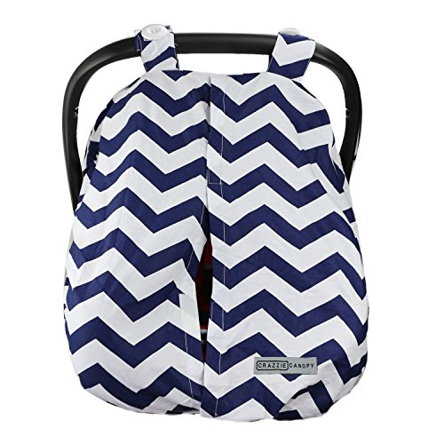 13 Designs - Lightweight Car Seat Canopy Cover by CRAZZIE (Warm Weather Zigzag Navy)