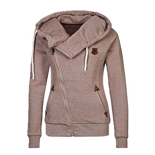 Begonia.K Women's Oblique Zipper Hoodies Funnel Neck Full Zip Hooded Sweatshirt, Khaki, Tag 2XL=US XL