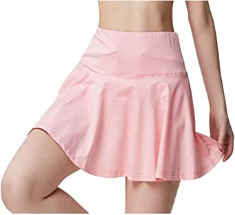Lghxlxry Women's Lightweight Athletic Golf Tennis Skirts Tummy Control Workout Running Skorts with Pockets
