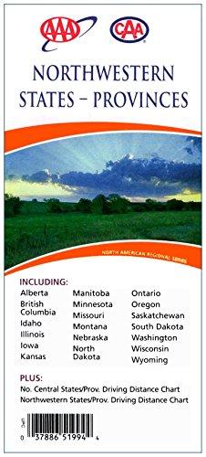 Northwestern States - Provinces (Map) : Including Alberta, British Columbia, Idaho, Illinois, Iowa, Kansas, Manitoba, Minnesota, Missouri, Montana, Nebraska, North Dakota, Ontario, Oregon, Saskatchewan, South Dakota, Washington, Wisconsin, Wyoming : Plus No. Central States/Provinces Driving Distance Chart, Northwestern States/Provinces Driving Distance Chart (Road Map Of Washington Oregon And Idaho)