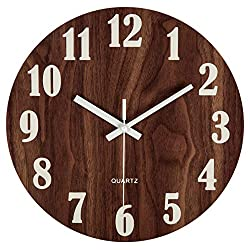 jomparis 12 Night Light Function Wooden Wall Clock Vintage Rustic Country Tuscan Style for Kitchen Office Home Silent & Non-Ticking Large Number Battery Operated Indoor Clocks