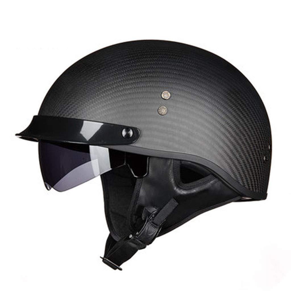 Personality Carbon Fiber Helmet Men and Women Motorcycle Retro Half Helmet Four Seasons Prince Helmet Electric Car Helmet Color : Matte Black, Size : M