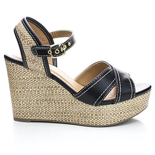 Sully's Kimball Black Open Toe Slingback Woven Platform Wedge Heels-7