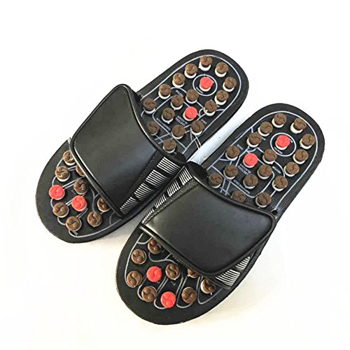 Acupressure Foot Massage Ball Slippers Shoes, Therapeutic Acupuncture Massage Ball Flip Flops for Men Women Foot Relaxation Massager Plantar Fasciitis(44-45,Black + Brown)