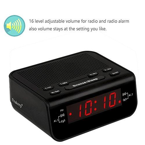 Peakeep Little Digital FM Alarm Clock Radio with Dual Alarm, Snooze, Sleep Timer and Battery Backup
