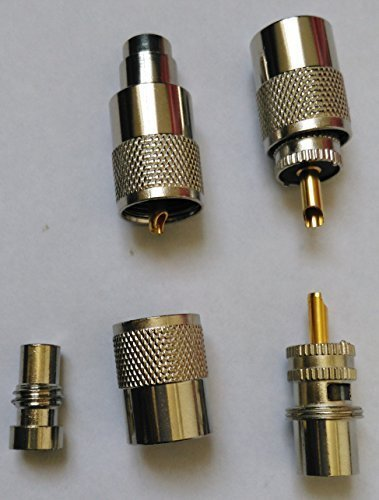 Pro Trucker UHF Male-Plug Solder PL-259 Coax Connector For RG-8, 9, 213, 214, LMR400, Silver/Teflon with UG-175 Reducers for RG-58, RG142, LMR195 Type Cable Compatible with Ham Radio - 5 Pack