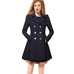 Gillberry Women Long Coat Lapel Neck Outwear Winter Warm Trench Jacket Coats (XL, Navy)