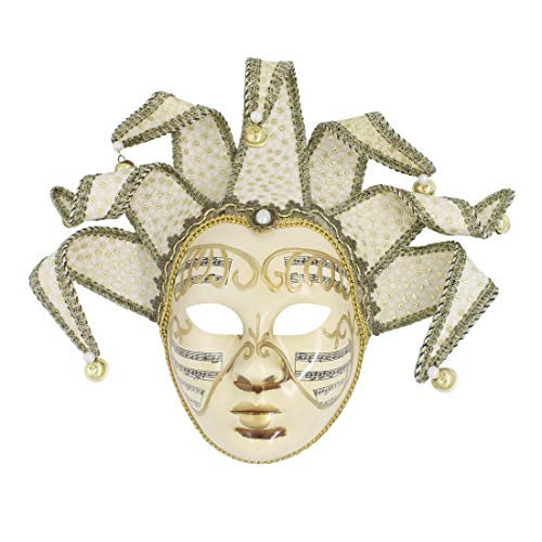 Hophen Beige Volto Music Venetian Jester Mask Masquerade Halloween Party Bell Joker Wall Decorative Art Collection -