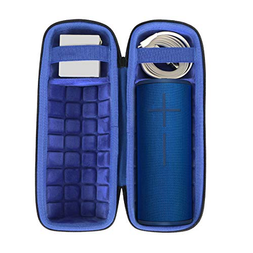 co2crea Hard Travel Case for Ultimate Ears UE Boom 3 Portable Bluetooth Wireless Speaker (Black Case + Inside Lagoon Blue)