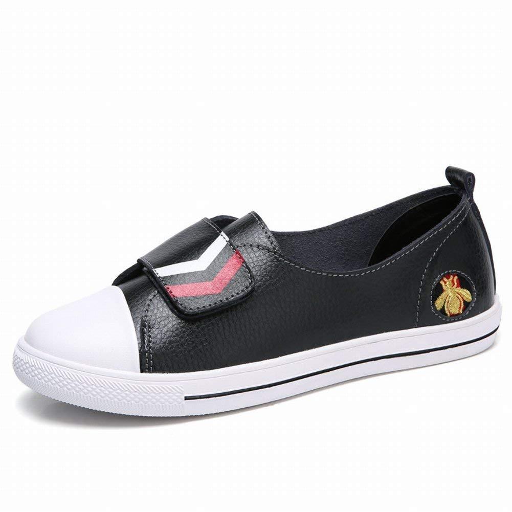 Fuxitoggo Lederne Velcro Weiße Schuhe Bequeme Allgleiches Studentenschuhe Rutschfeste Atmungsaktive Schuhe (Farbe   Schwarz, Größe   37)