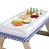 ShineMe Inflatable Ice Serving/Salad Bar Food Tray Drink Holder Fruit Plate Cooler for Summer Pool Party Buffet/Table/Water BBQ/Picnic (1pcs)
