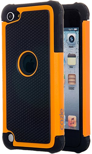iPod Touch, Dual-layer Heavy Duty Matte Rugged Protective Cover Case for Appple iPod Touch 6th Gen 5th Gen by Cazle (Orange)